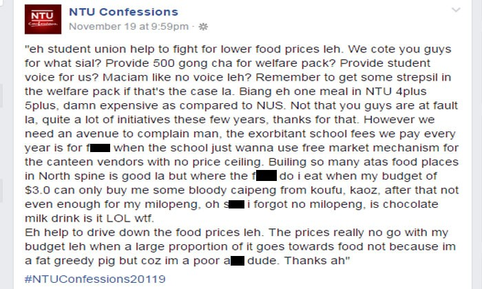 NTU student says he's poor and asks student union to reduce food prices in campus