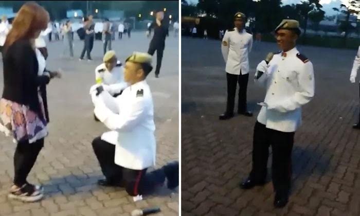 So sweet! Soldier gets down on one knee to propose to GF right after ORD paradeo girlfriend right after ORD parade