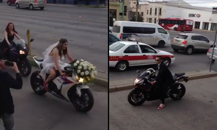 Wedding with banners and cake -- how about motorcycles instead?