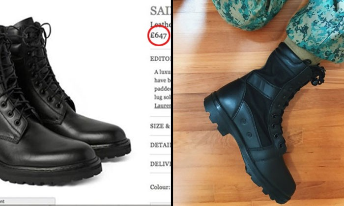 Saint Laurent boots compared with SAF combat boots -- and they are shockingly similar but with different prices