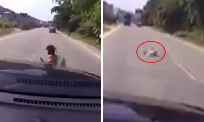 Chilling video of school kid getting hit by vehicle after carelessly dashing across the road