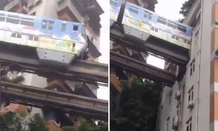 Next level train in China cuts through buildings while travelling