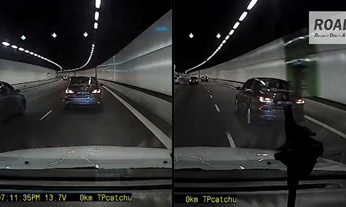 Reckless driver on KPE cuts lanes without signalling, hogs road, then makes last-minute turn