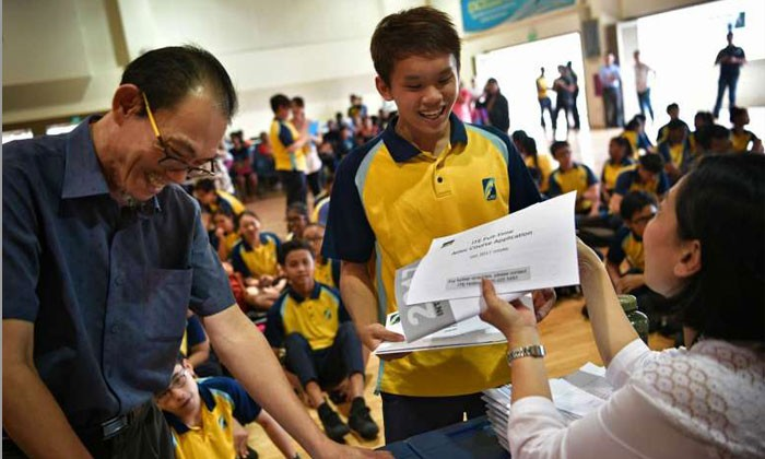 Crest Secondary student Ryan Ang collecting his N-level results on Dec 19, 2016.ST Photo by The Straits Times (Mark Cheong)