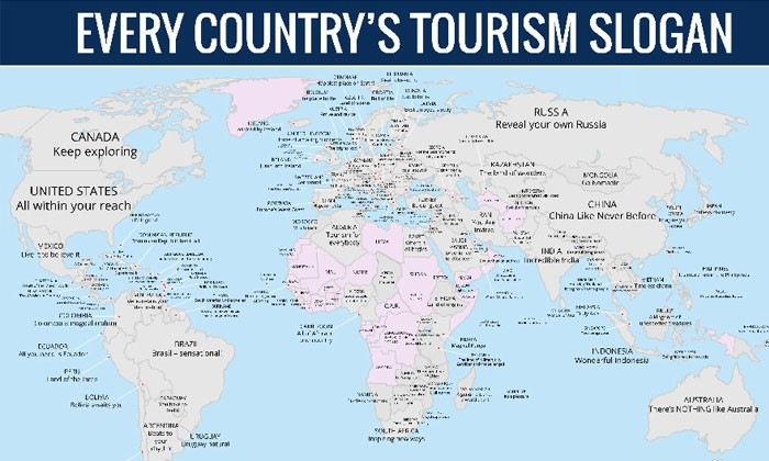 Map Reveals Every Country S Tourism Slogan Here S What Was Written