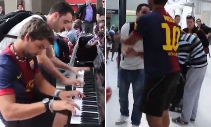 Two strangers meet at an airport -- and proceed to play piano together magnificently unplanned