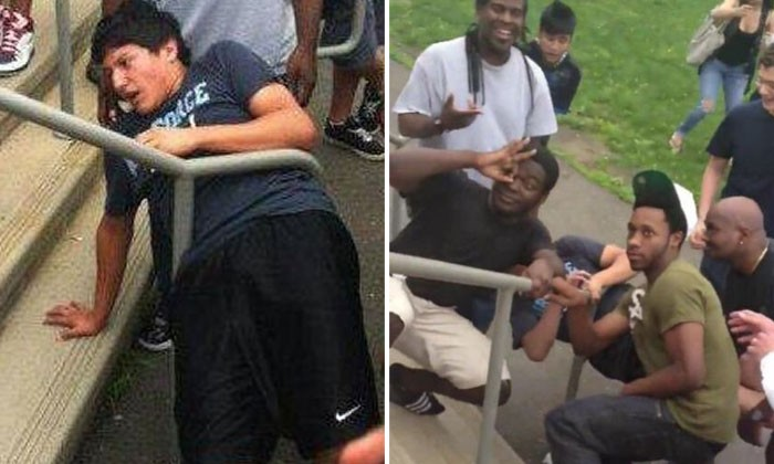 Guy gets stuck in handrail but receives no help -- and witnesses simply pose for photos