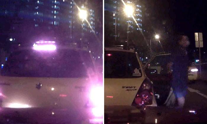 Suzuki driver jams on brakes for no reason, causing cabby to crash into him
