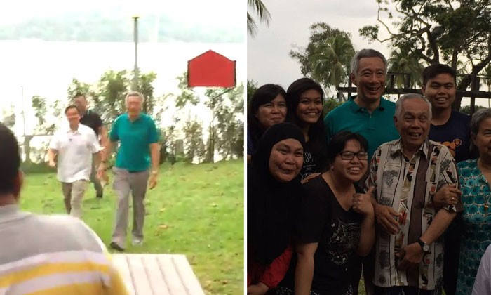 Woman freaks out after Prime Minister Lee Hsien Loong walks up to chalet