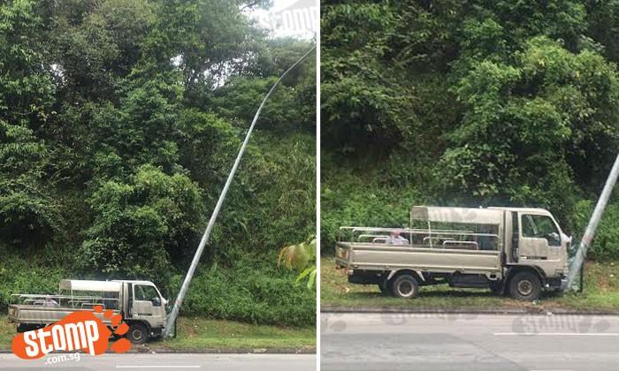 Lorry vs lamppost at Bukit Batok Ave 2