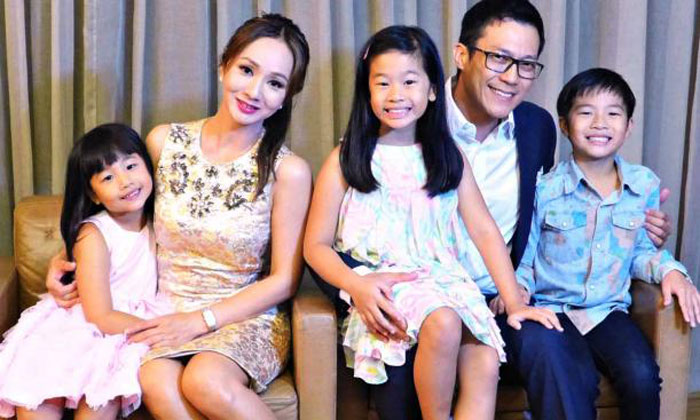 Former TV host Diana Ser with husband James Lye and their three children. Photo: Courtesy of Diana Ser