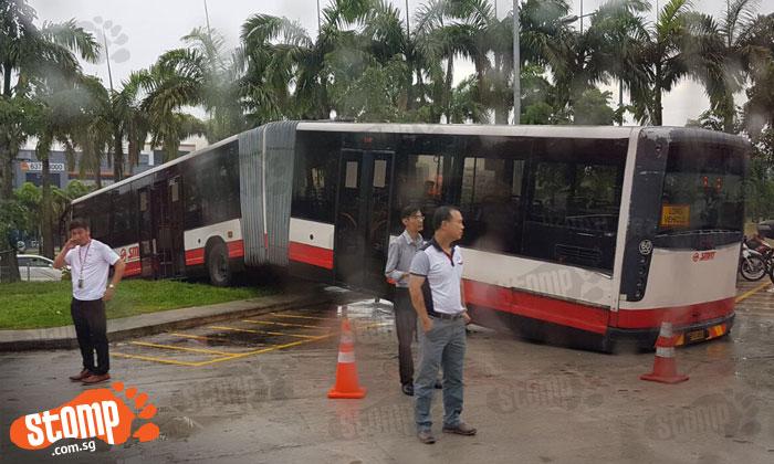 Poor bendy bus has a back strain after getting stuck at Woodlands  Interchange