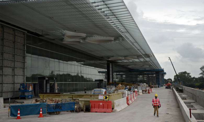 Construction at Changi Airport's Terminal 4. The incident is believed to have occurred at a worksite near the new terminal.ST PHOTO: MARK CHEONG
