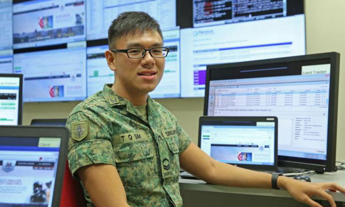 Corporal Sim Tian Quan enjoys tackling unexpected problems. PHOTO: THE STRAITS TIMES