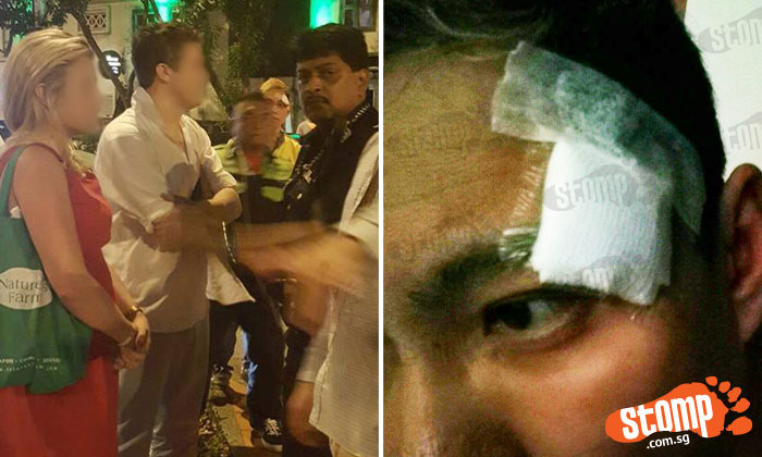 Left: The alleged attacker in a white shirt and jeans. Right: The Uber driver's patched up wound
