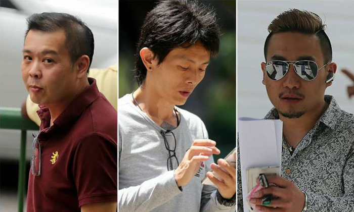 (from left to right) Andra Chew Keng Leng, Lim Boon Tiong, and David Tan, had pleaded guilty to being members of an unlawful assembly whose object was to harass a cashier at a Chinese soup stall.ST PHOTOS: WONG KWAI CHOW