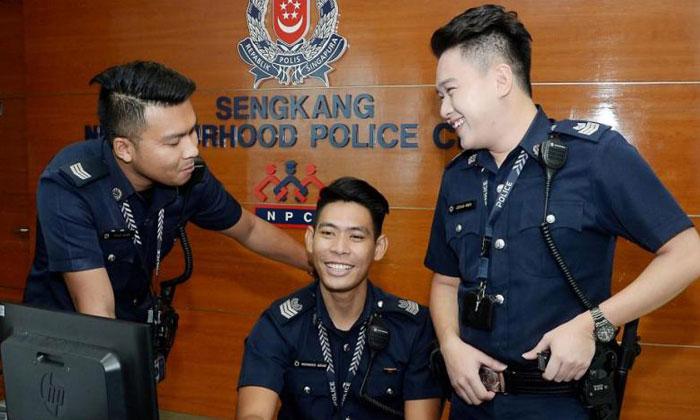 (From left) Sergeant Mohamad Adam Roslan, Senior Staff Sergeant Mohamad Azhar Abdul Aziz and Staff Sergeant Joshua Kwek. PHOTO: BERITA HARIAN