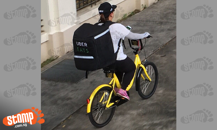 Ubereats Rider Goes Green By Delivering Food Using Ofo