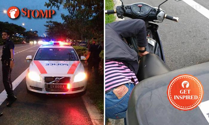 Left: Police patrol car. Right: Stranded biker