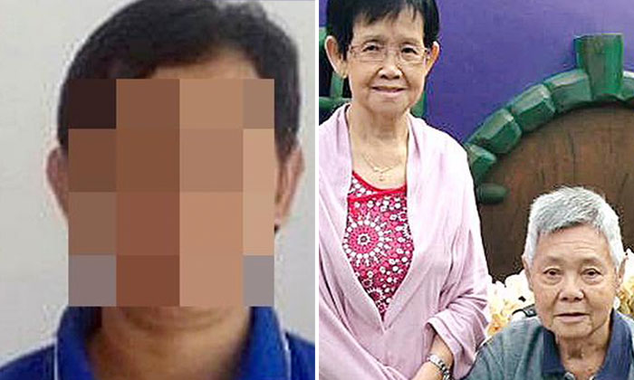 photo: Shin Min Daily News. 41-year-old Indonesian maid suspected of murdering the elderly couple (left) and murdered couple (right)