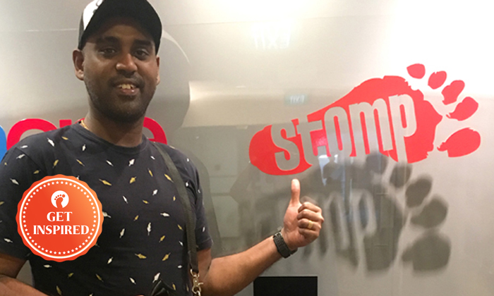 Mr Max Faz, a 37-year-old club singer received a Stomp Goody Bag for helping a man who was sleeping in the middle of the road along Jalan Besar on May 20.