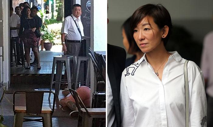 Left: Tan Nam Seng looking at Spencer Tuppani outside A Poke Theory. Right: 43-year-old Tan Cheng Cheng, wife of Spencer Tuppani. Photos: Stomp, ST, TNP