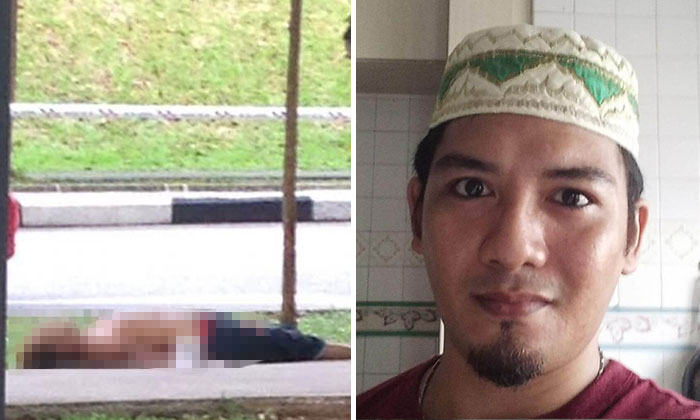 Photo: Lianhe Zaobao and The Straits Times. The deceased, Mr Mohammad Roslan Zaini (Left and right pictures) was found dead, with a stab wound on his chest.