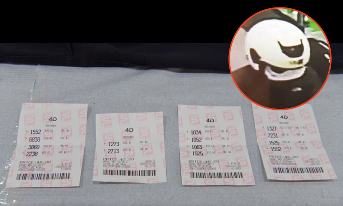 ST photo: 4D tickets that were retrieved from the suspect. Inset: The police had earlier supplied an image of the suspect.