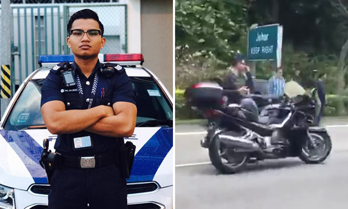 A police NSman (left) was killed in an accident along the SLE on Sep 10. Photos: Facebook