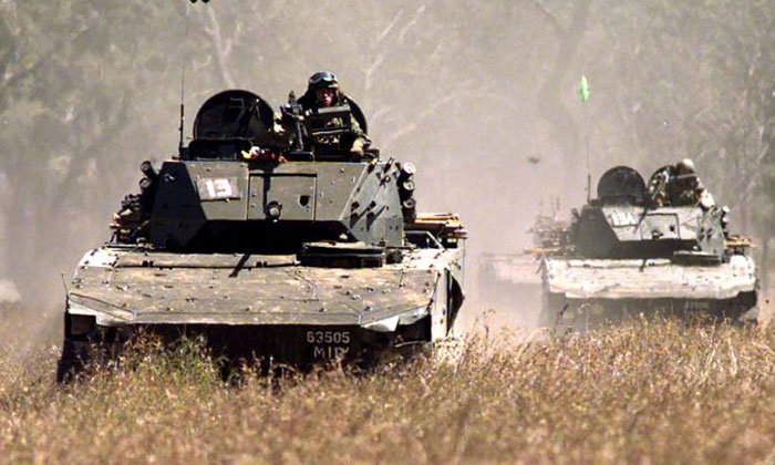 A file photo of a Bionix Infantry Fighting Vehicle. NSF Chan Hiang Cheng Gavin, 21, was travelling in a similar vehicle as part of Exercise Wallaby at the Shoalwater Bay Training Area in Australia when the vehicular incident took place on Sept 15, 2017.ST FILE PHOTO