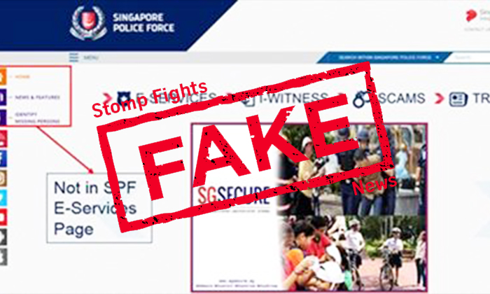 The official Singapore Police Force website does not have the section highlighted in the image above.