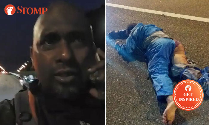Stomper Stone (left) stopped to render assistance to an injured victim in an accident (right).