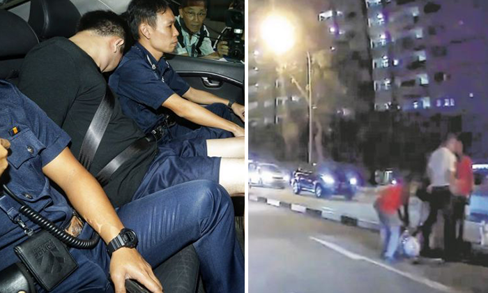 The driver of the Maserati, Lee Cheng Yan (left) together with police officers. Pedestrians gathered to help the injured TP after the accident (right).