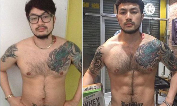 Out of shape Ken (left) and his current physique (right) PHOTO: Instagram (kenstreetbar)