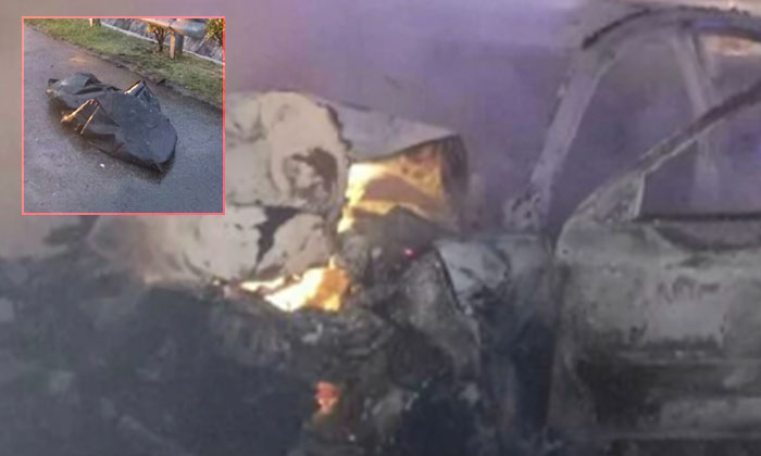 The burning wreckage of the car and the charred remains of the driver (left inset)