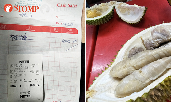 The bill for the durians (left) amounted to over $600 even though they were promised that it would be 'cheap'