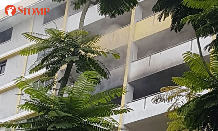 Smoke was seen coming from the 9th floor of the block at Aljunied Crescent