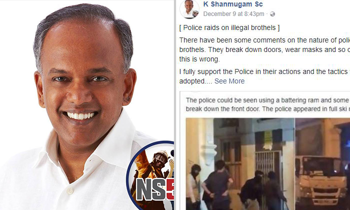 Home Affairs and Law Minister Shanmugam expressed support for how the police conducted the raids despite the criticism