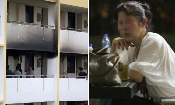 The affected unit at Block 99 Aljunied Crescent (left) and the deceased's mother (right) waiting anxiously at the foot of the block.