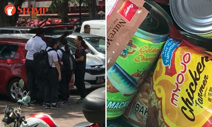 Several teenagers in NPCC attire were spotted throwing away unused rations in a dustbin at Changi