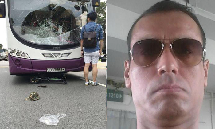 E-scooter rider Mr Atan Amat (right) suffered head injuries and was taken unconscious to hospital after he was involved in an accident with a double-decker bus. (left) PHOTO: STRAITS TIMES