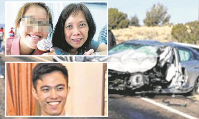 Ms Justlyn Yeo Jing Hui (leftmost top inset) and Madam Chua Cher Hwee (rightmost top inset) were in the silver Hyundai driven by Mr Justin Yeo Jun Xi (bottom inset) during the accident.