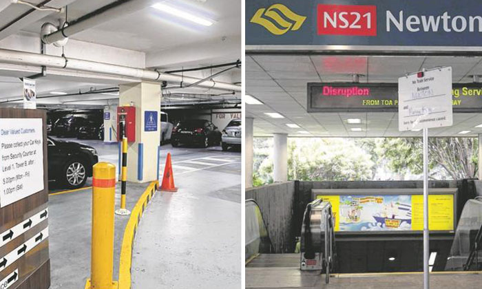 The car was driven out from the carpark (left) and abandoned near Newton MRT Station (right).