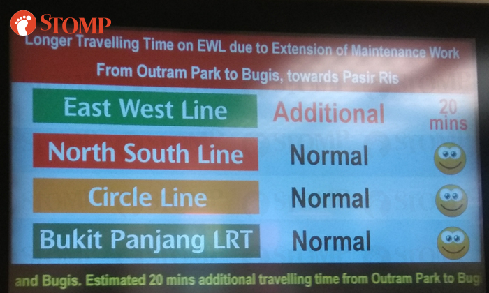 SMRT advised commuters to expect additional 20 minutes of travelling time from Outram Park to Bugs towards Pasir Ris.