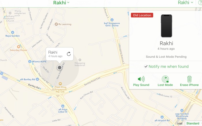 Using the Find My iPhone app, Rakhi found that her iPhone was switched off along New Industrial Road