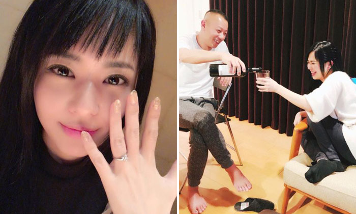 Sola Aoi showing her wedding ring (left) and with her husband DJ Non (right)