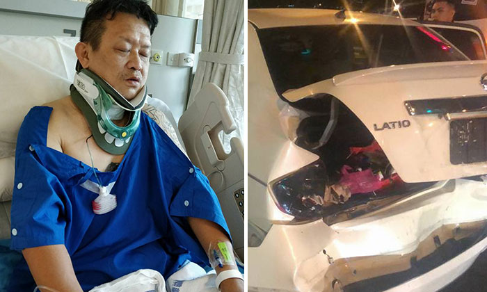 Mr Ke (left) was left with spinal injuries after his car (right) was rammed from the back by a BMW.