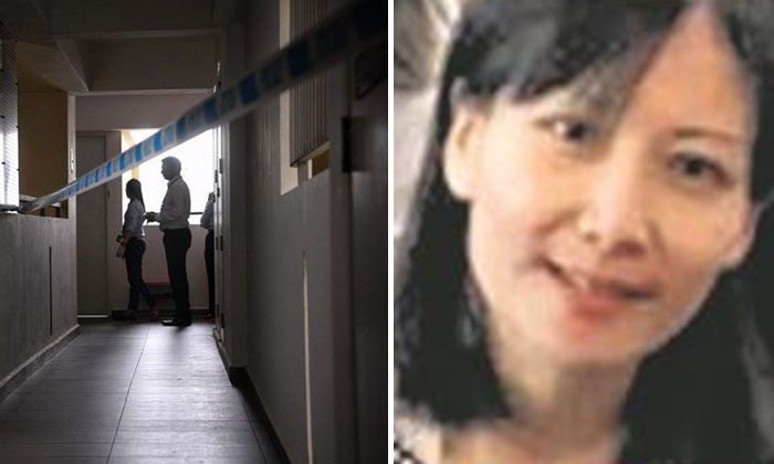 Officers inspecting the flat where Ms Tan Bee Leng (right) was found dead with stab wounds.