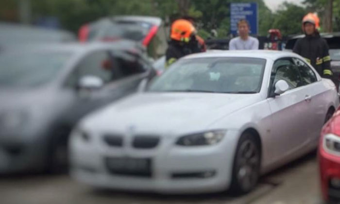 The BMW driven by the couple at the time of incident. Photo: Lianhe Wanbao