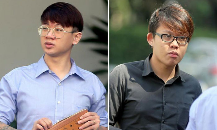 Ng Shiuh Shao (left) was sentenced to two years' jail and his brother Shiuh Leong (right) was given nine months' jail for assaulting a Malaysian man who used to date their mother. ST PHOTOS: WONG KWAI CHOW
